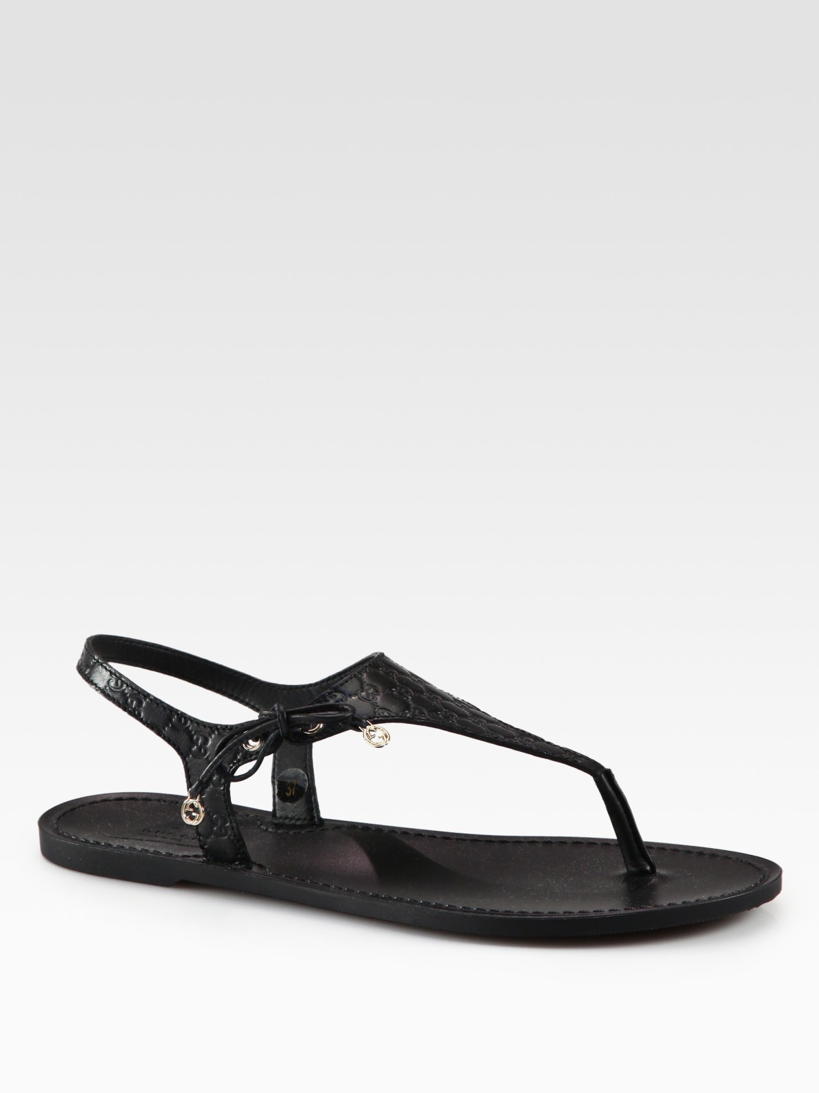Gucci Katina Leather Thong Sandals In Black Lyst