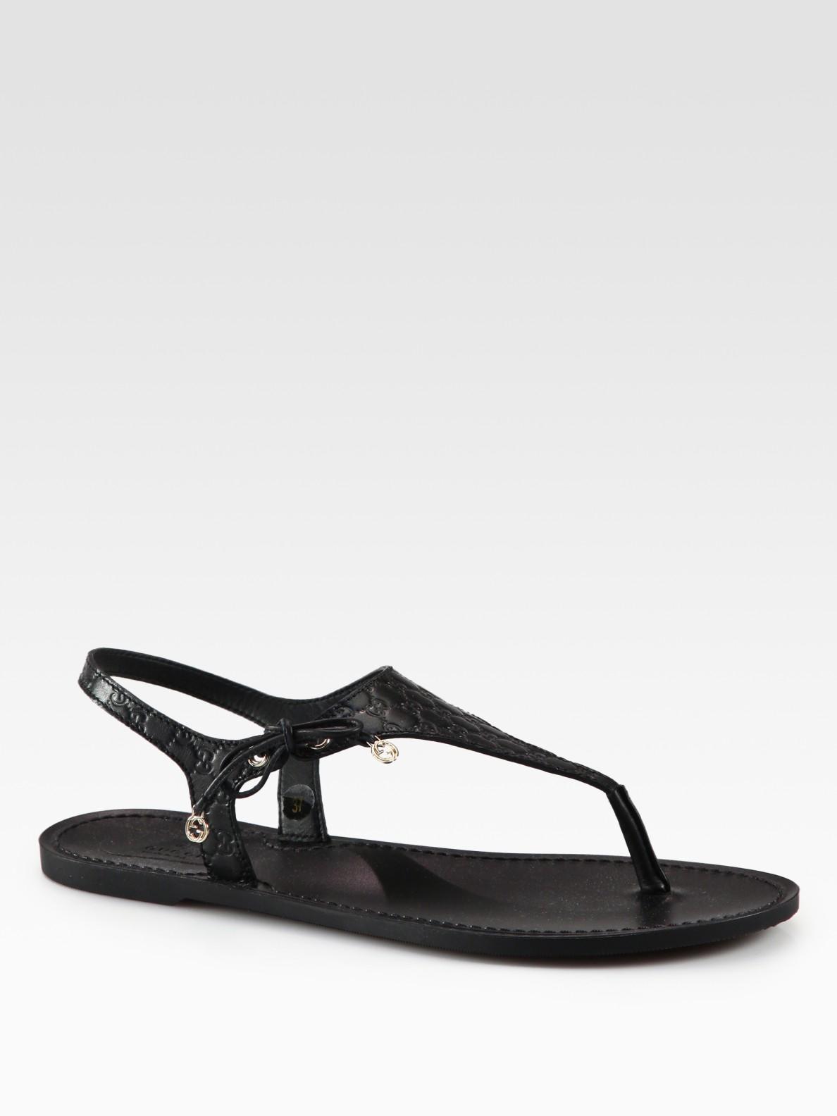 8da08aca7609 Lyst - Gucci Katina Leather Thong Sandals in Black