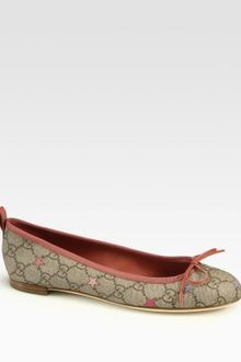 Gucci Ali Canvas Leather Ballet Flats - Lyst