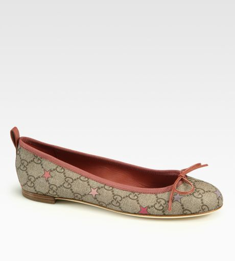 gucci ali canvas leather ballet flats in pink lyst
