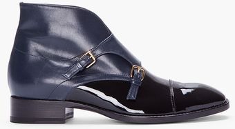 Jil Sander Black Navy Patent Leather Monk Boots - Lyst