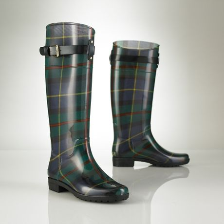 Lauren By Ralph Lauren Tartan Rubber Rain Boot in Green (blue tartan)