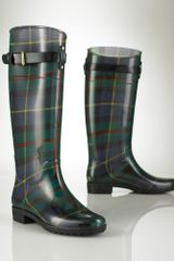 Lauren By Ralph Lauren Tartan Rubber Rain Boot in Green (blue tartan) - Lyst