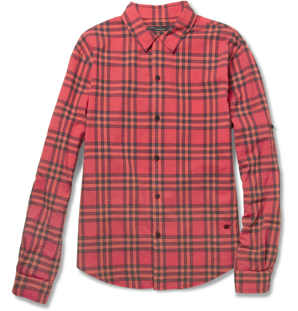 lyst marc by marc jacobs nico textured plaid cotton blend shirt in red for men. Black Bedroom Furniture Sets. Home Design Ideas