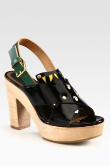 Marni Patent Leather Wooden Platform Sandals - Lyst