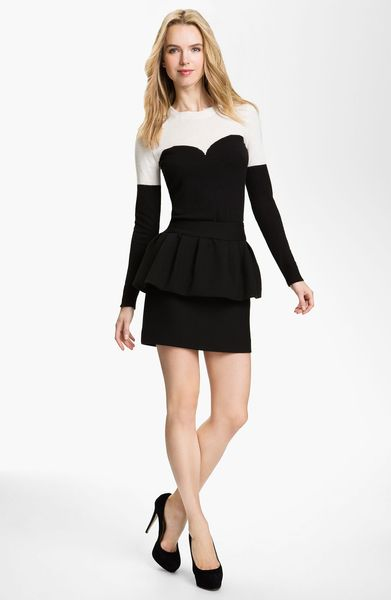 Milly Marilyn Intarsia Sweater in Black - Lyst