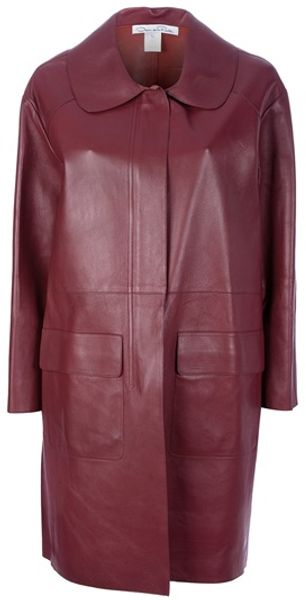 Oscar de la Renta Midlength Leather Coat - Lyst
