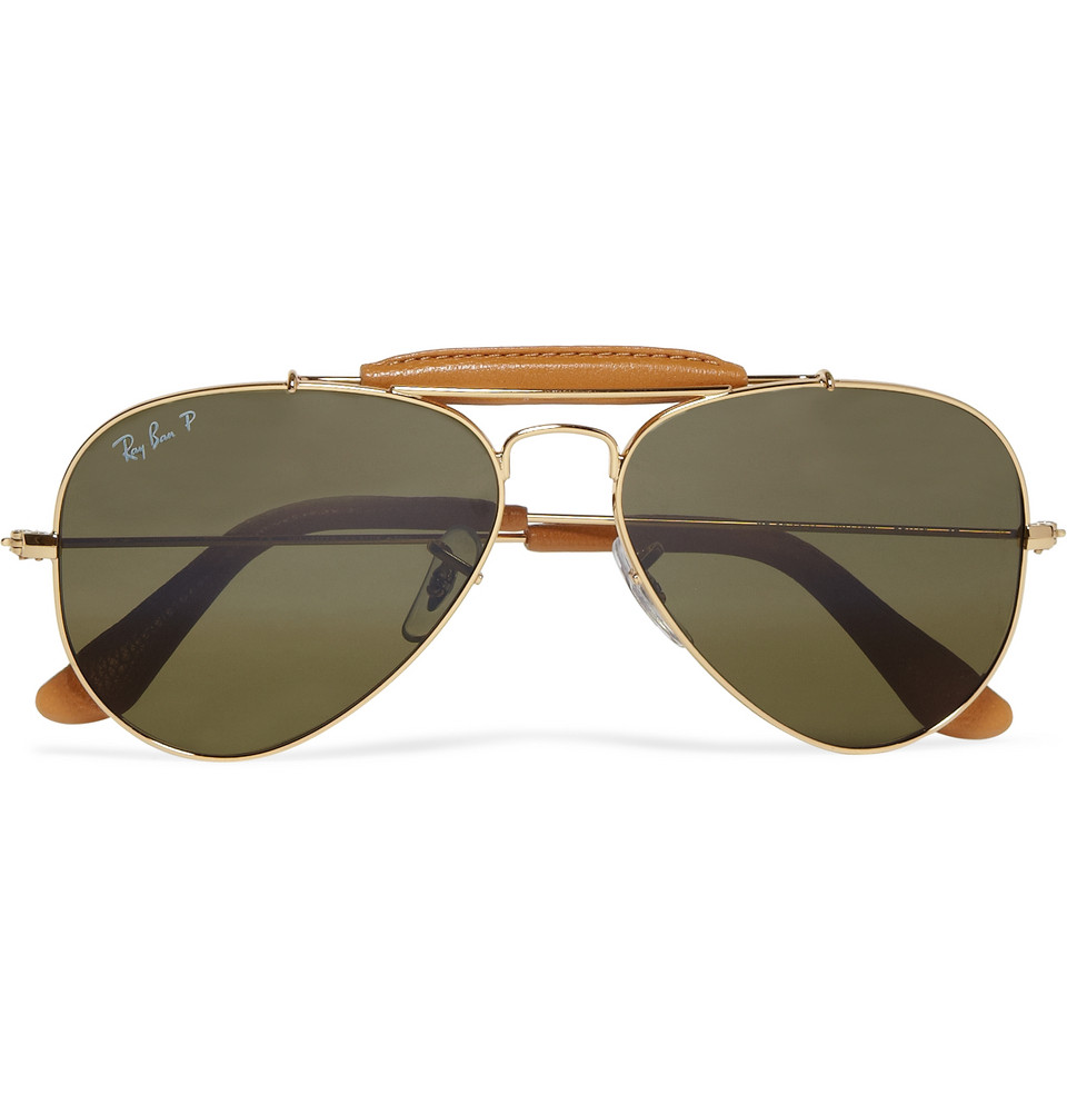 Ray Ban Outdoorsman Polarised Aviator Sunglasses In Gold
