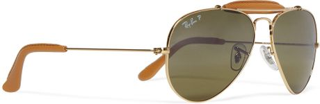 0e38dcc764a ... ray ban outdoorsman leather trimmed aviator sunglasses