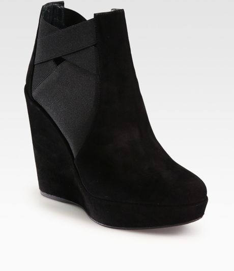 stuart weitzman hiyola suede wedge ankle boots in black lyst