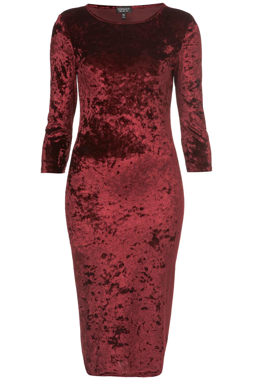 Topshop Crushed Velvet Midi Dress In Red Lyst