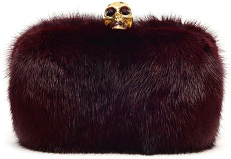 Alexander Mcqueen Mink and Swarovski Crystal Box Clutch in Purple (bordeaux) - Lyst