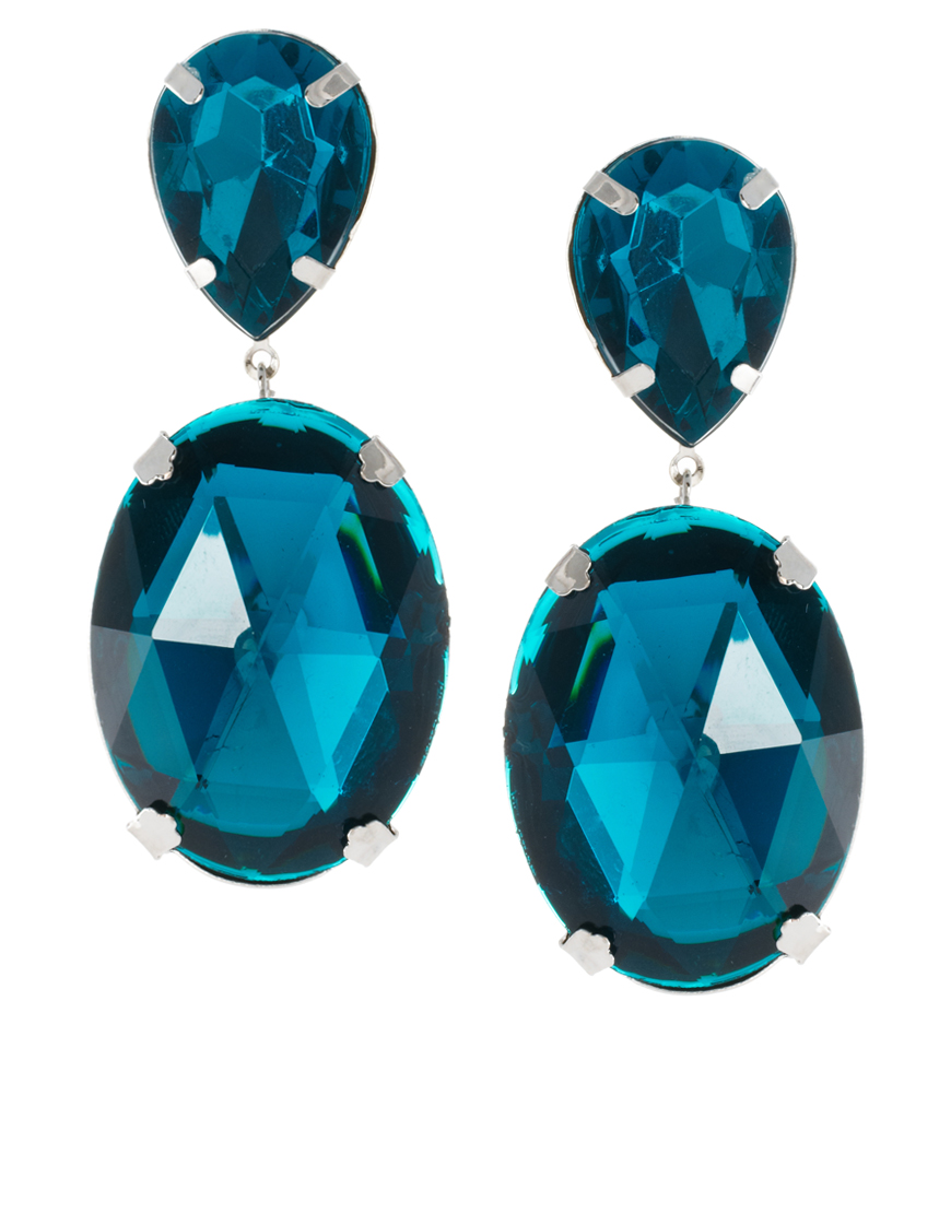 blue pine crystal colored multi statement earrings gemstone sapphire leaf curved marquise pave