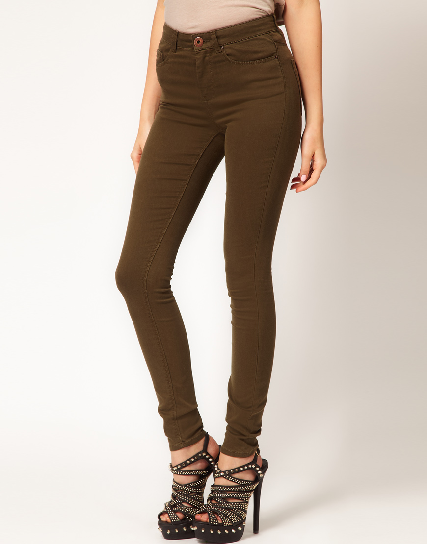 Asos Asos High Waisted Ultra Skinny Jeans in Dark Khaki 11 in ...