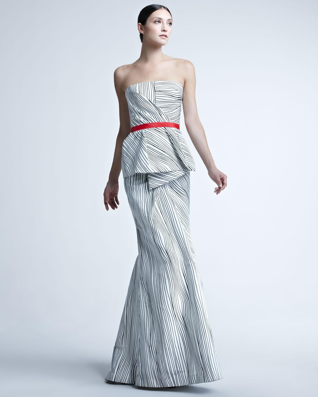 Lyst - Carolina Herrera Woodgrainprint Peplum Gown in Metallic