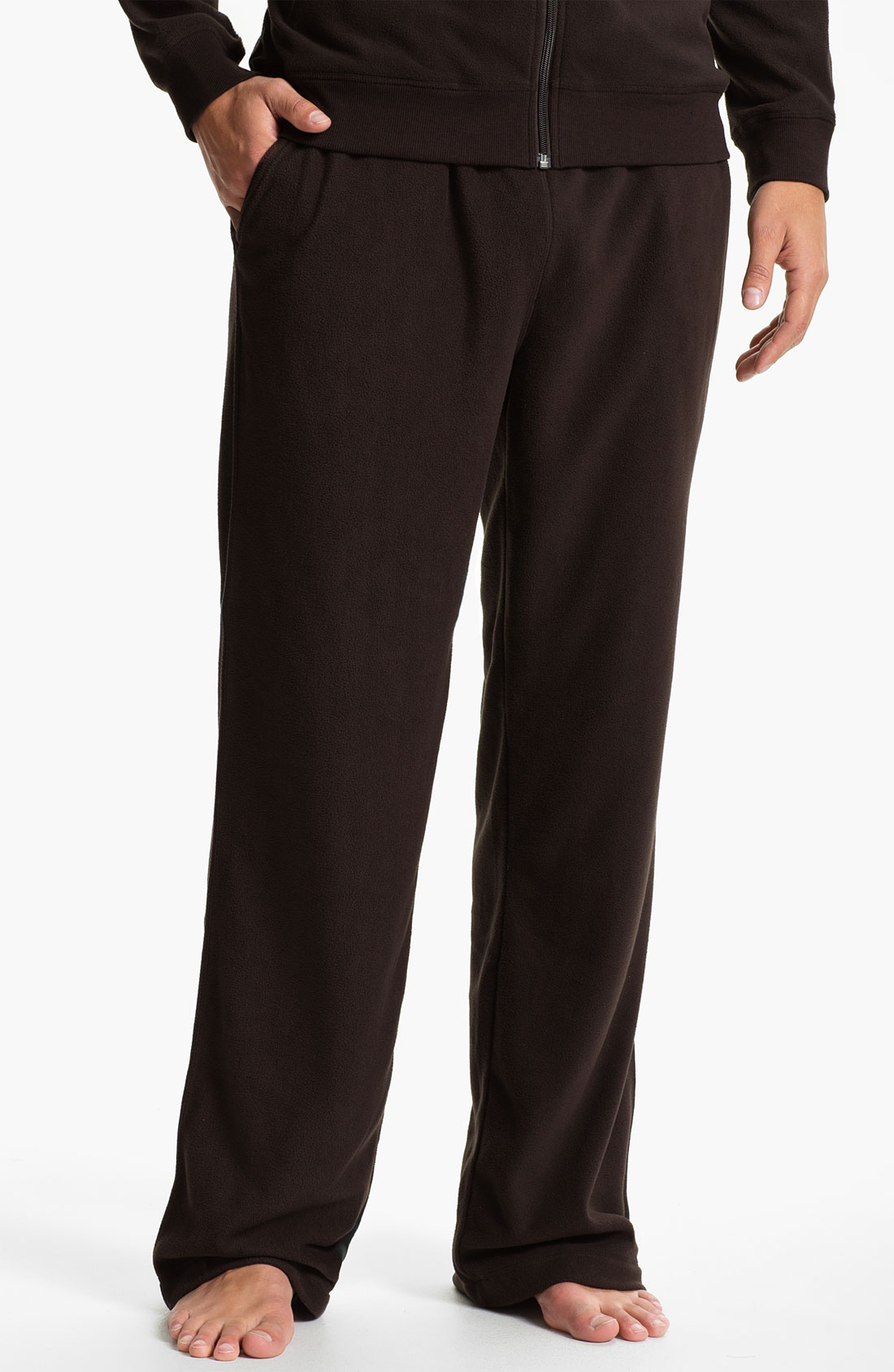 Daniel Buchler Fleece Lounge Pants In Brown For Men