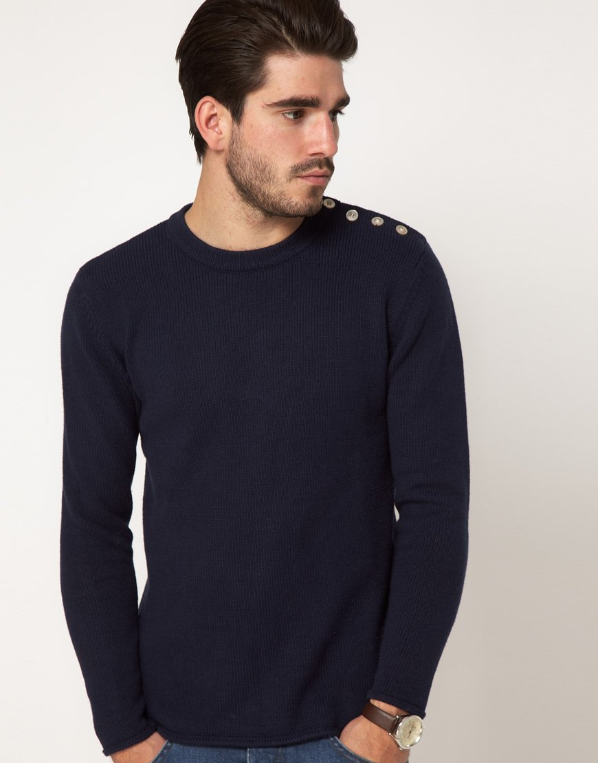 Gant Rugger Sweater With Button Shoulder In Blue For Men