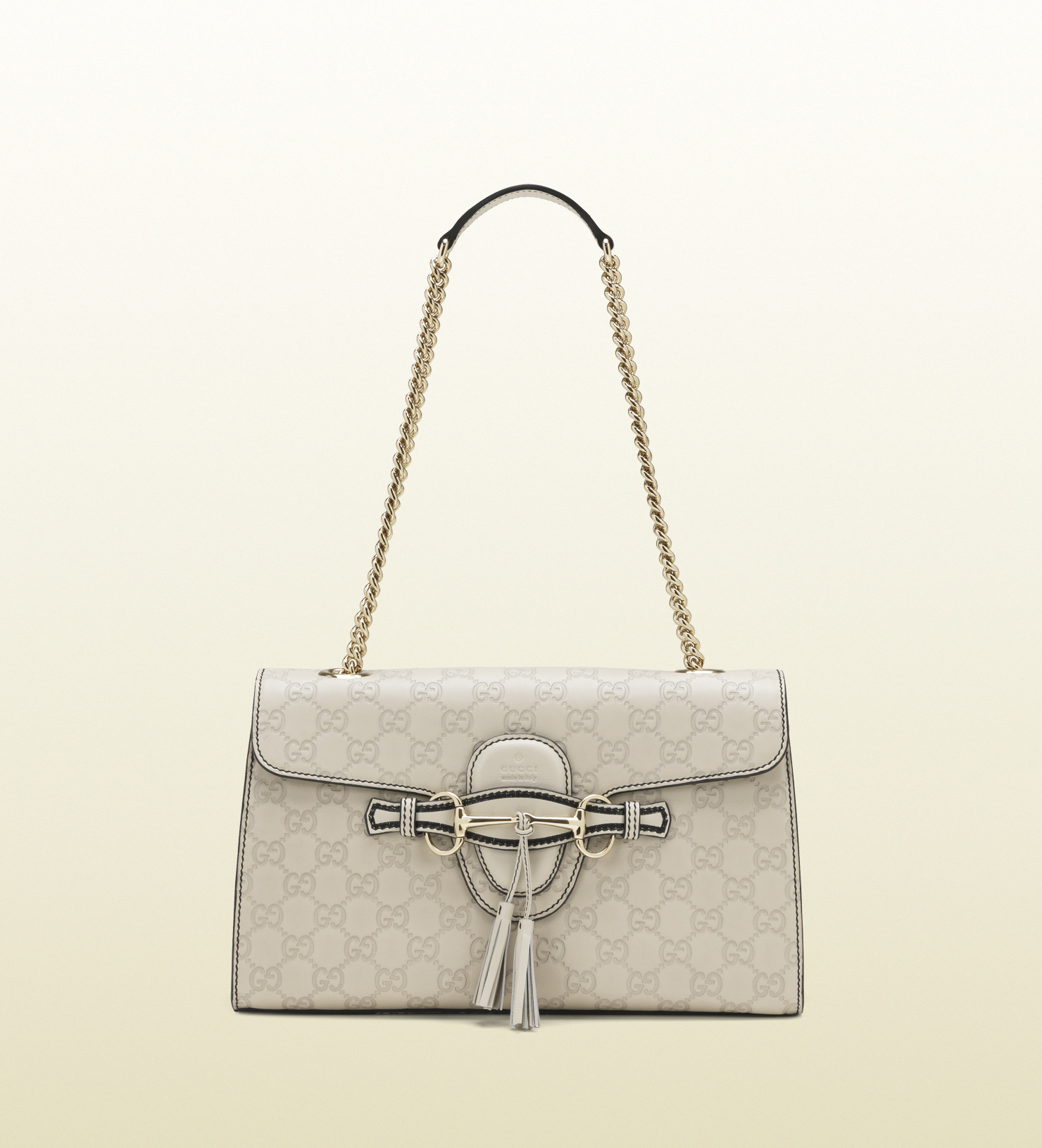 51b77350302 Lyst - Gucci Emily Ssima Leather Chain Shoulder Bag in Natural