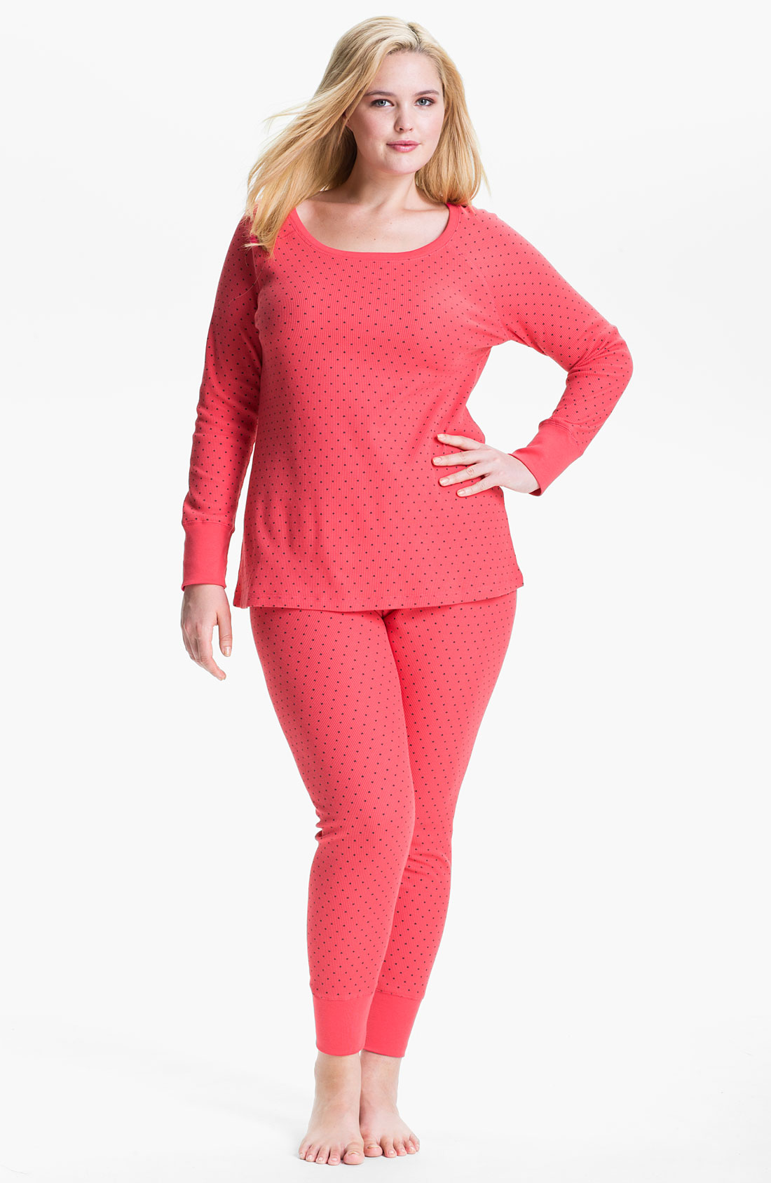 Hue Topia Thermal Pajamas In Red Teaberry Lyst