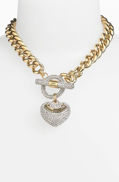 Juicy couture heart pendant necklace in gold gold clear for Juicy couture jewelry necklace