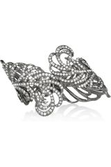 Kenneth Jay Lane Gunmetalplated Swarovski Crystal Cuff - Lyst