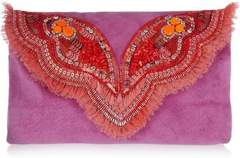 Matthew Williamson Butterfly Embellished Suede Clutch - Lyst