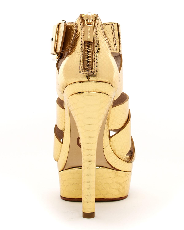 Michael Kors Axton Snakeembossed Platform in Gold (snake ...