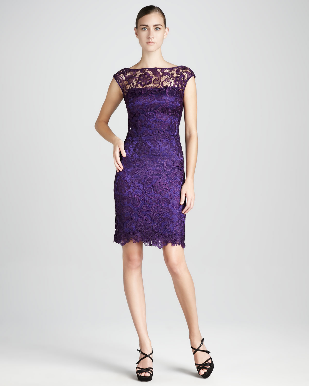 Ml monique lhuillier Bateauneck Lace Cocktail Dress in Purple | Lyst