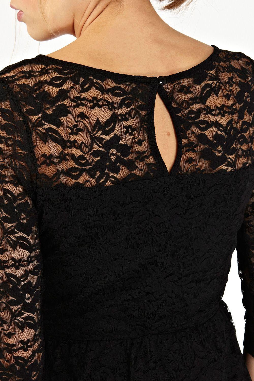 Oasis Lace Long Sleeve Peplum Top In Black Lyst