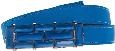 Oscar De La Renta Geometric Buckle Belt in Blue