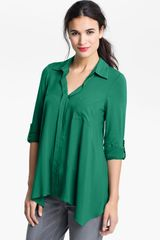 Pleione Split Neck Roll Sleeve Mixed Media Top - Lyst