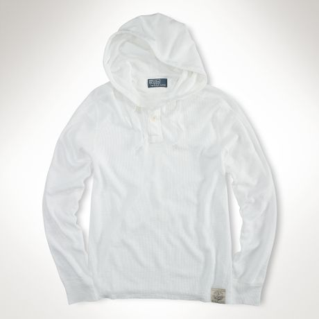 Polo Ralph Lauren Longsleeved Waffle Hoodie in White for Men (classic