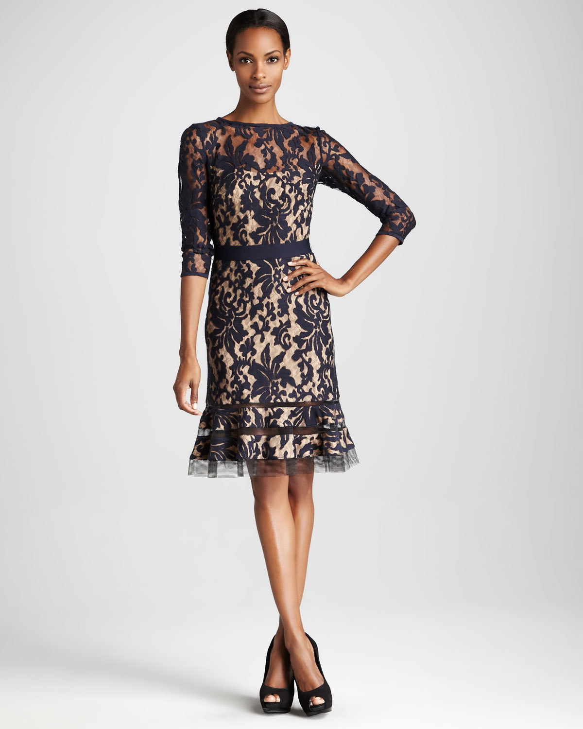 Tadashi shoji Threequarter Sleeve Lace Cocktail Dress in Brown | Lyst