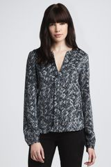Theory Printed Silk Blouse - Lyst