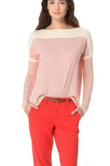 Vince Stripe Slub Sweater - Lyst