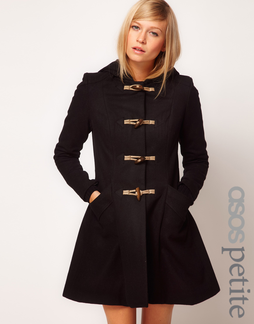 Asos Hooded Swing Duffle Coat in Black | Lyst