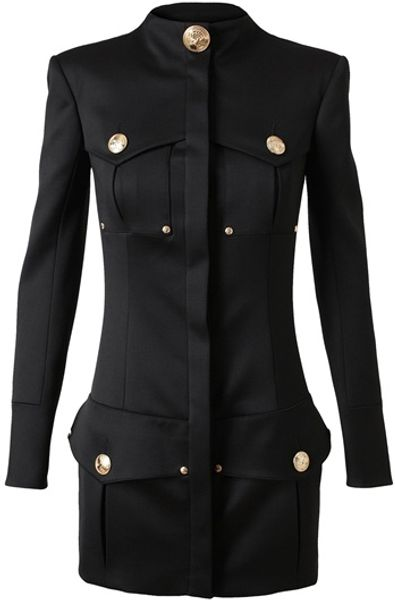 Balmain Structured Woolblend Military Dress in Black - Lyst