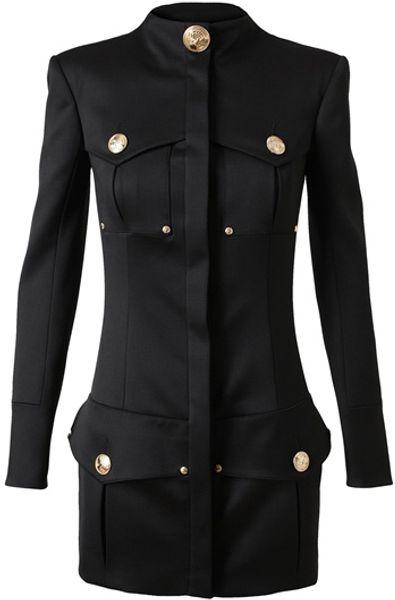 Balmain Structured Wool-blend Military Dress in Black