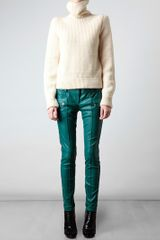 Balmain Leather Biker Trousers in Blue (teal) - Lyst