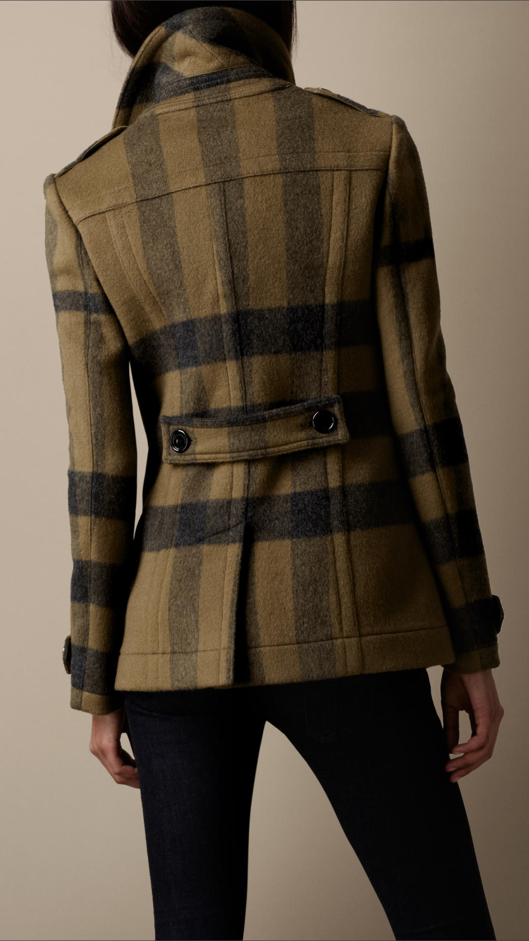 Burberry brit check wool pea coat in green lyst for Burberry brit green plaid shirt