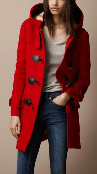 Burberry Brit Wool Duffle Coat in Red | Lyst