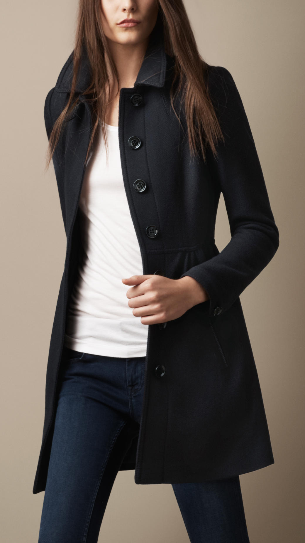Burberry Brit Wool Twill Dress Coat In Blue Navy Lyst