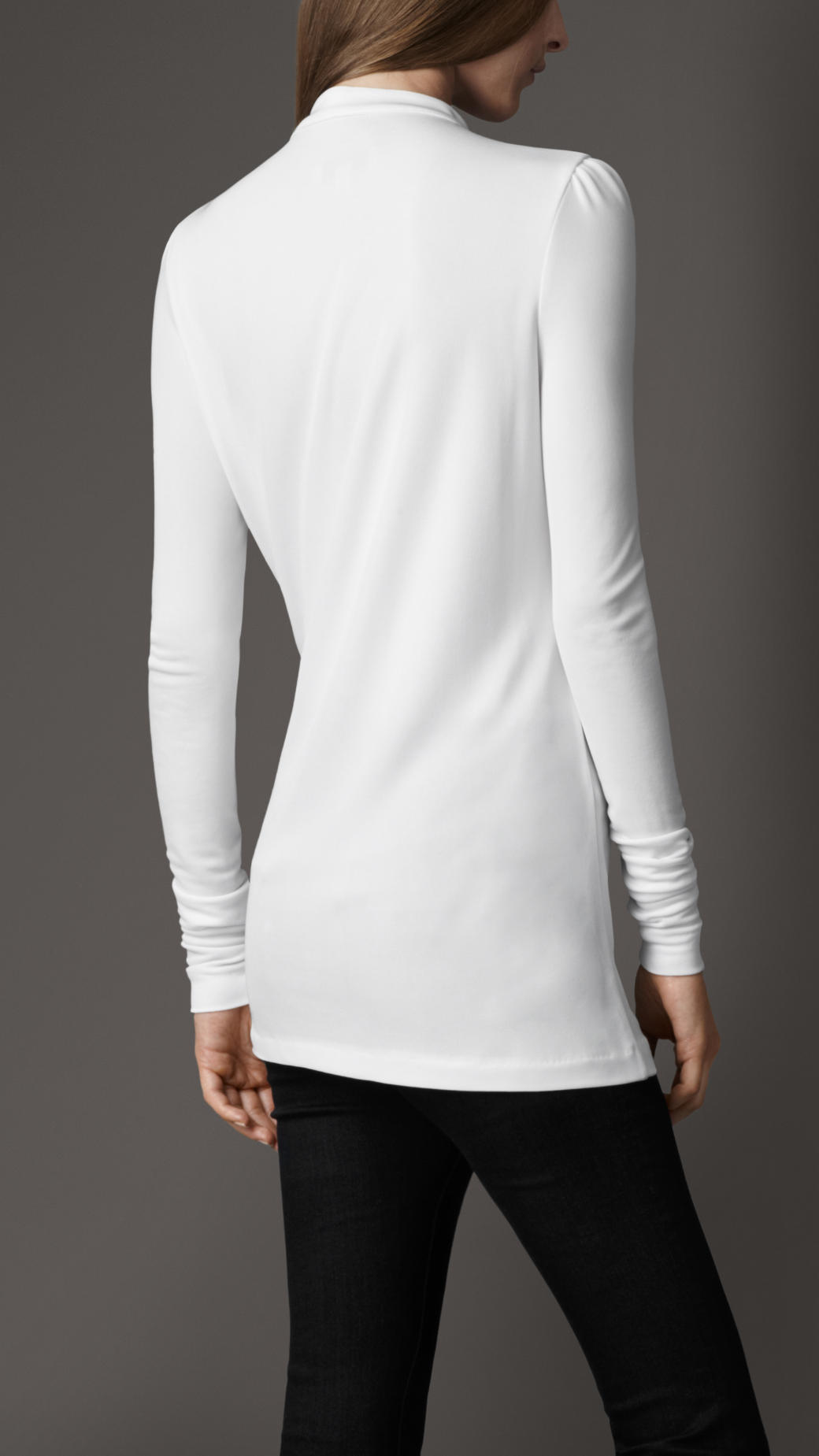 Burberry Pleated Keyhole Blouse In White Lyst