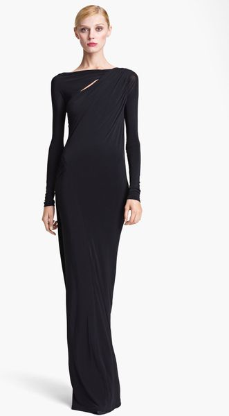 Donna Karan New York Collection Jersey Column Gown in Black