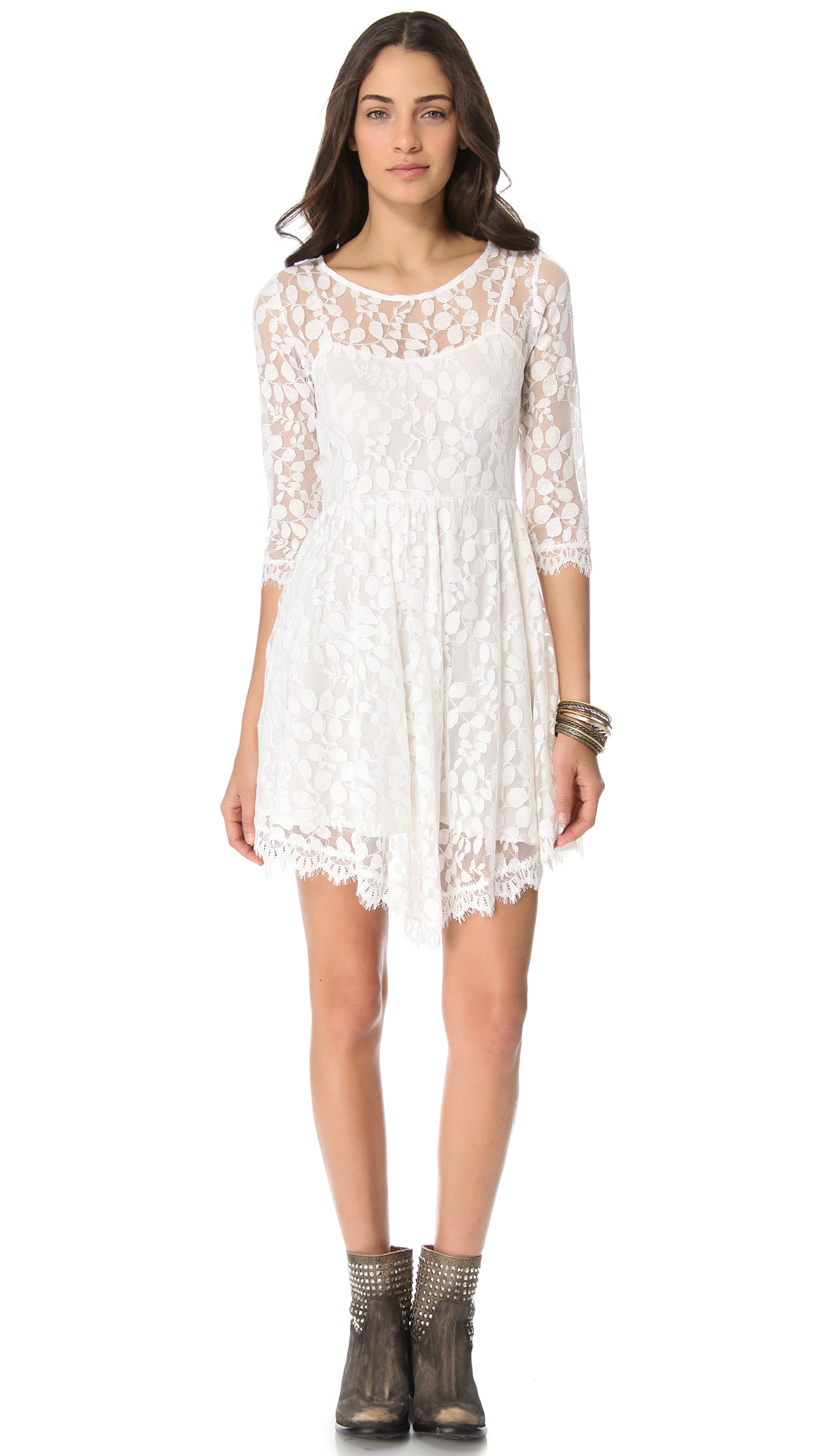 Free People Floral Mesh Lace Dress In White Lyst