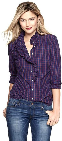 Gap Fitted Boyfriend Ruffle Shirt - Lyst