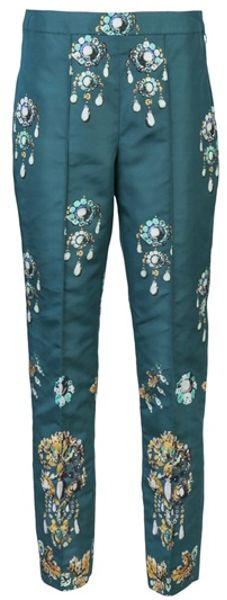 Oscar De La Renta Skinny Trouser in Blue (teal)