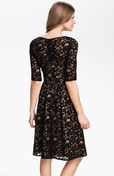 Adrianna Papell Lace Overlay Fit Flare Dress In Black