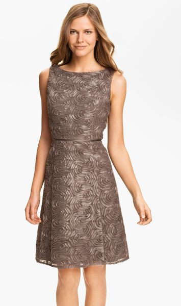 Adrianna Papell Metallic Soutache Fit Flare Dress In Brown
