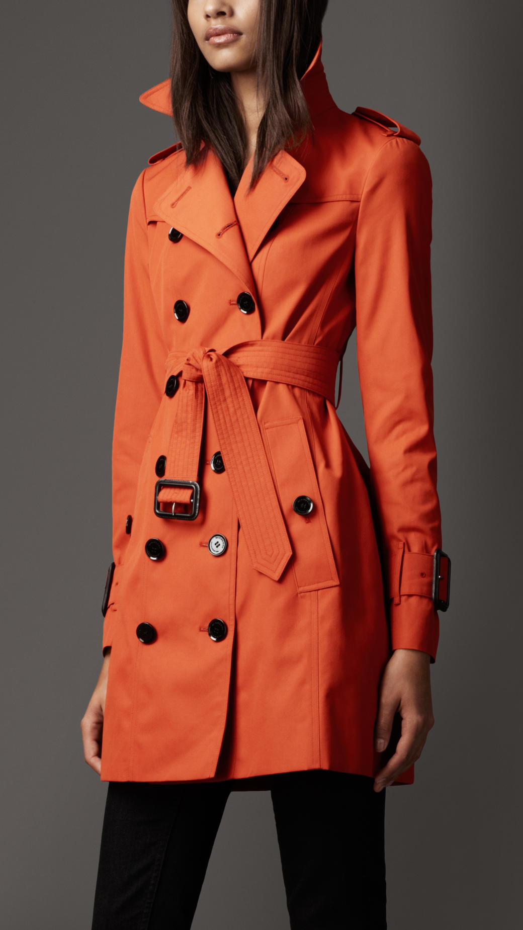 burberry midlength cotton blend trench coat in orange burnt orange lyst. Black Bedroom Furniture Sets. Home Design Ideas